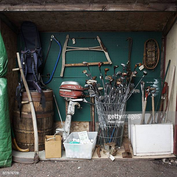 loads of various tools and equipment stored in a storage space - sports equipment stock pictures, royalty-free photos & images