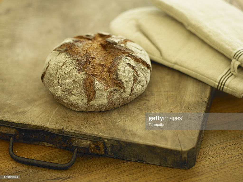Loaf Of Bread On Butchers Block : Stock Photo