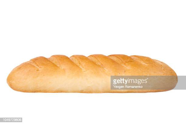 loaf of bread on white background - baguette stock pictures, royalty-free photos & images