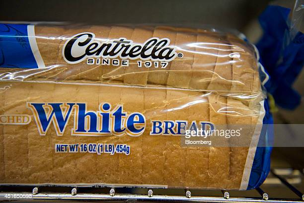 A loaf of Centrella brand white bread sits on display for sale in a supermarket in Princeton Illinois US on Wednesday July 2 2014 Rising prices for...