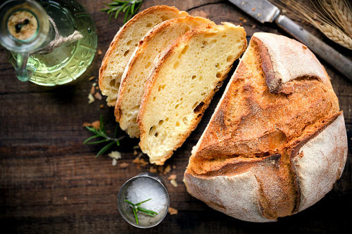 Loaf of rustic homemade bread 895450778