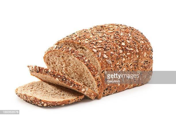 Braten mit Scheiben hausgemachte multigrain Brot mit clipping path