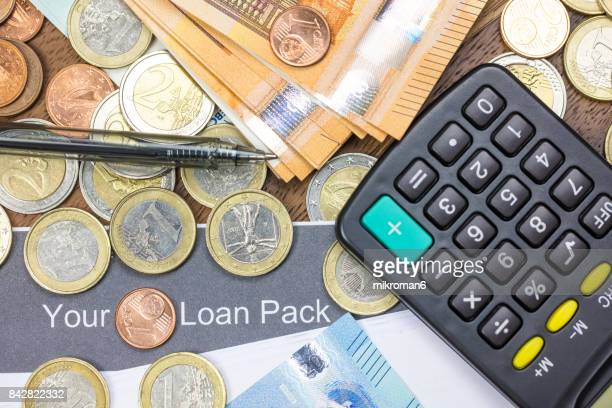 Loan application, money, calculator and pen