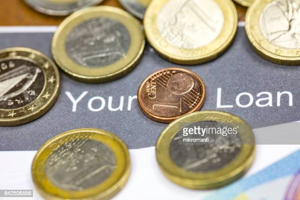 Loan application, money, Euro coins