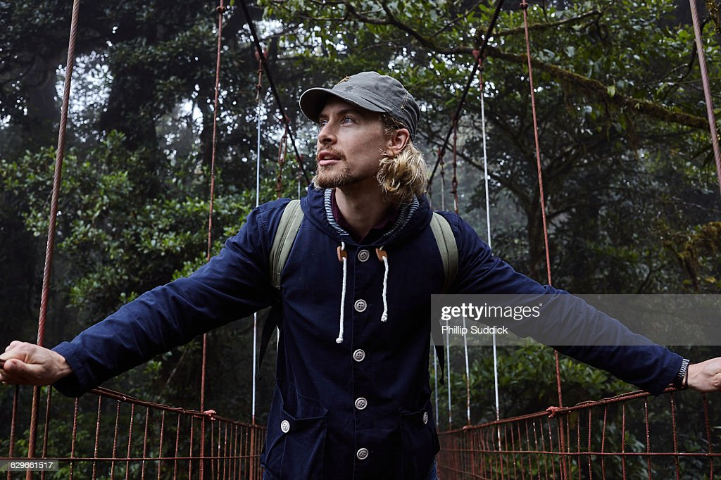 Loan Male Traveller Walking & Exploring Nature : Stock Photo