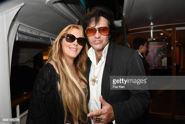Loana Petrucciani and singer Elvis presley Look alike Eryl Prayer attend Technikart Boat Party 70th annual Cannes Film Festival at Lady of Jersey on...