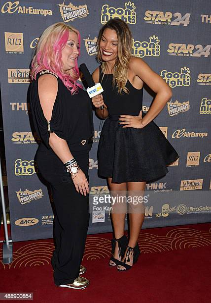 Loana Petrucciani and TV Journalist Johanna Sansano from Star 24 attend the '35th Nuit des Publivores' at Grand Rex September 17 2015 in Paris France...