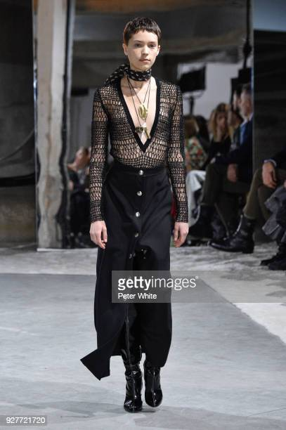 Loane Normand walks the runway during the Giambattista Valli show as part of the Paris Fashion Week Womenswear Fall/Winter 2018/2019 on March 5 2018...