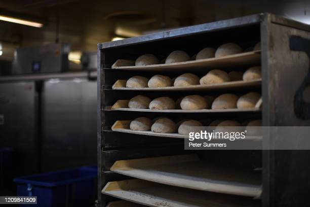 Loaves of bread are seen sitting on racks at The Bread Factory on April 14, 2020 in London, England. During the COVID-19 outbreak and lockdown, the...