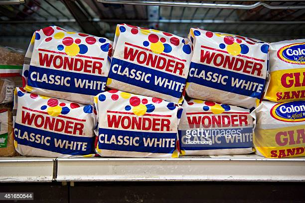 Loaves of Wonder brand white bread sit on display for sale in a supermarket in Princeton Illinois US on Wednesday July 2 2014 Rising prices for beef...