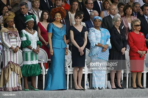 Lobbo Traore Toure Antoinette Sassou Nguesso Chantal Biya Carla Sarkozy Chantal Compaore Penelope Fillon Viviane Wade in Paris France on July 14th...