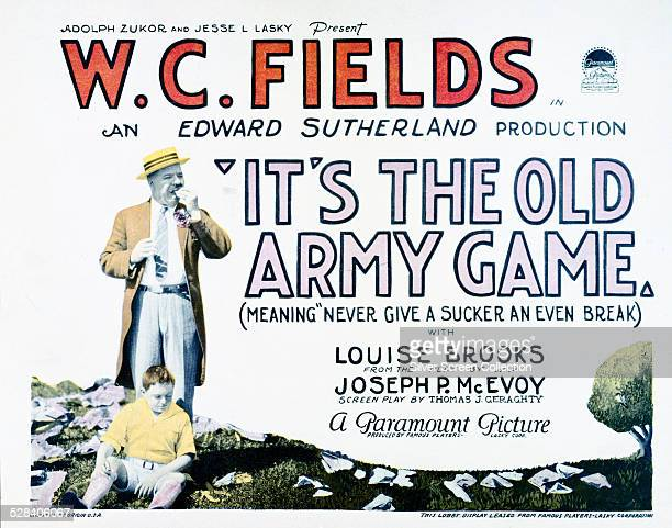 A lobby card for A Edward Sutherland's 1926 comedy 'It's The Old Army Game' starring W C Fields and Louise Brooks