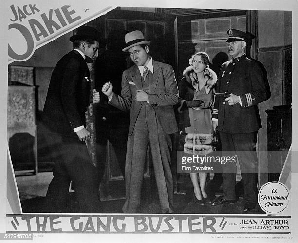 A lobby card for A Edward Sutherland's 1931 comedy 'The Gang Buster' featuring American actors William 'Stage' Boyd Jack Oakie and Jean Arthur