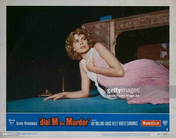 A lobby card for Alfred Hitchcock's 1954 thriller 'Dial M For Murder' featuring Grace Kelly