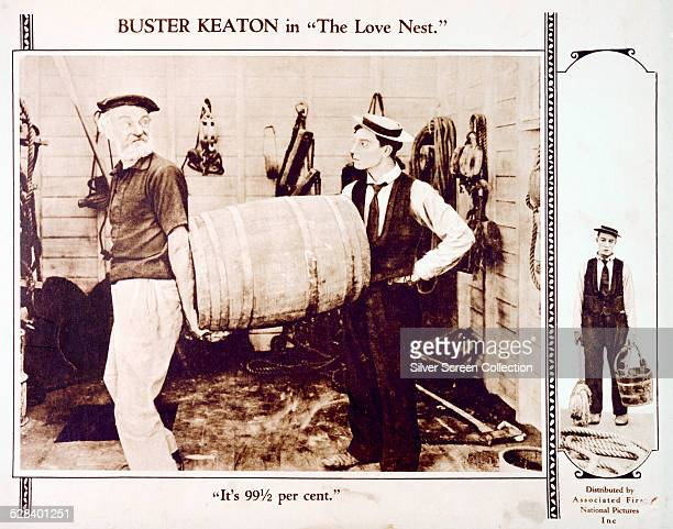 A lobby card for Buster Keaton's 1923 silent comedy 'The Love Nest' The film stars and was written and codirected by Keaton