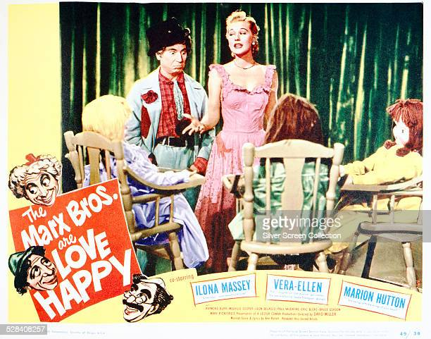 A lobby card for David Miller's 1949 Marx Brothers comedy 'Love Happy' The card features Harpo Marx and Marion Hutton