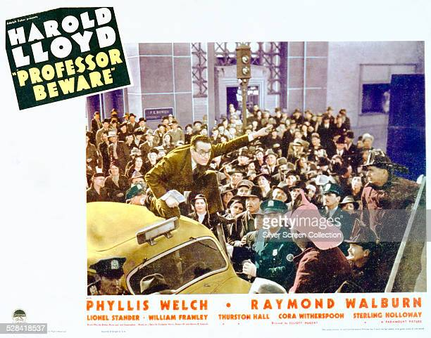 A lobby card for Elliott Nugent's 1938 comedy 'Professor Beware' starring Harold Lloyd