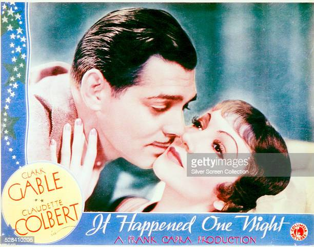 A lobby card for Frank Capra's 1934 romantic comedy 'It Happened One Night' starring Clark Gable and Claudette Colbert