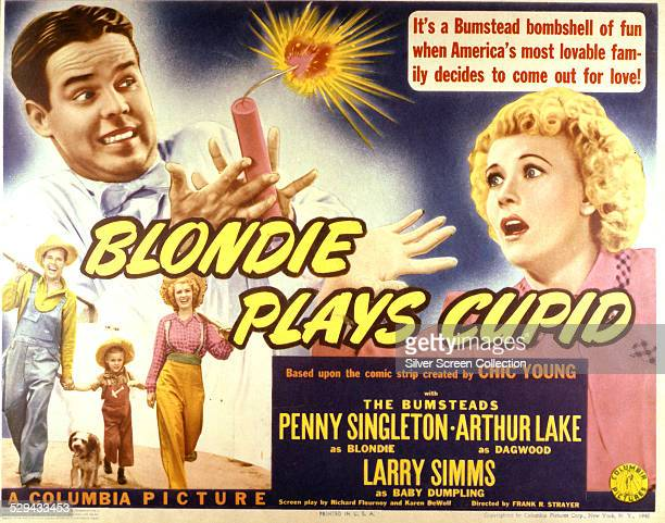 A lobby card for Frank R Strayer's 1940 comedy 'Blondie Plays Cupid' starring Penny Singleton and Arthur Lake