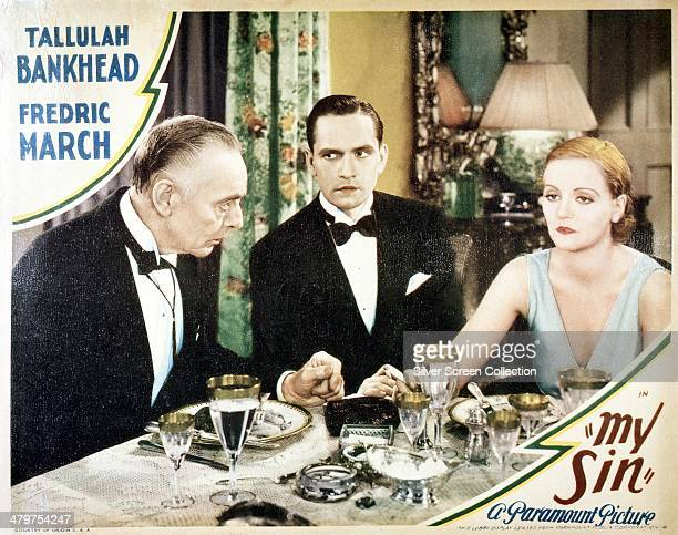 A lobby card for George Abbott's 1931 drama 'My Sin' starring Tallulah Bankhead and Fredric March On the left is Harry Davenport as Roger Metcalf