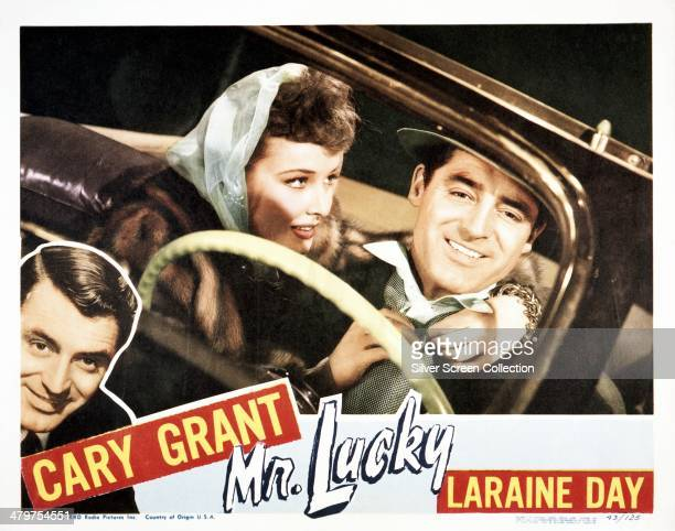 A lobby card for HC Potter's 1943 comedy 'Mr Lucky' starring Cary Grant and Laraine Day