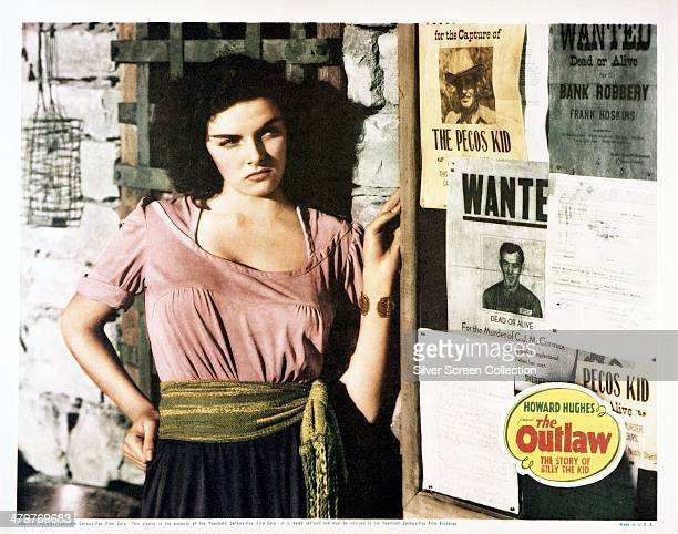 Lobby card for Howard Hughes' 1943 western 'The Outlaw', starring Jane Russell.