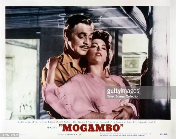 A lobby card for John Ford's 1953 romantic drama 'Mogambo' featuring Clark Gable and Ava Gardner