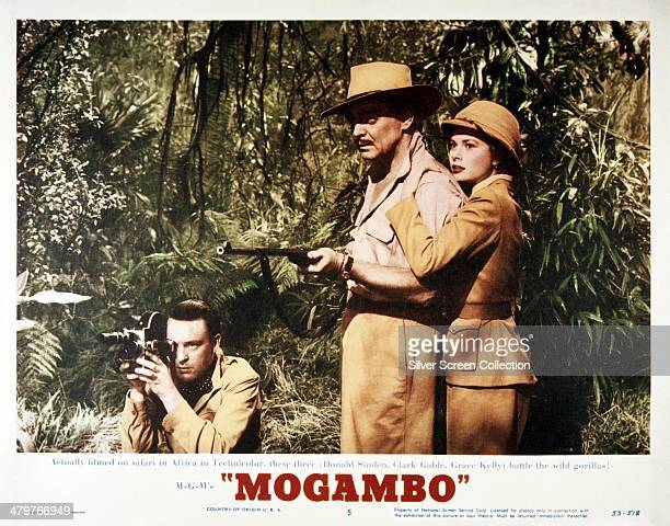 A lobby card for John Ford's 1953 romantic drama 'Mogambo' featuring Donald Sinden Clark Gable and Grace Kelly