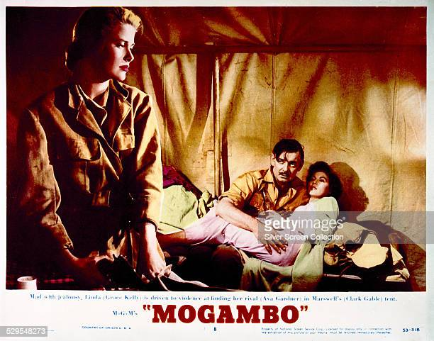 A lobby card for John Ford's 1953 romantic drama 'Mogambo' starring Grace Kelly Clark Gable and Ava Gardner