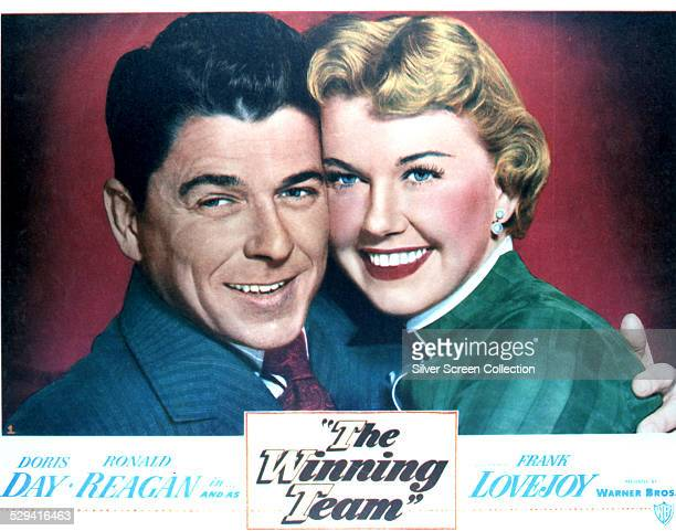 A lobby card for Lewis Seiler's 1952 biopic 'The Winning Team' starring Ronald Reagan and Doris Day The film is a fictionalized life of American...