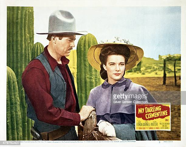 A lobby card for 'My Darling Clementine' directed by John Ford and starring Henry Fonda and Linda Darnell 1946