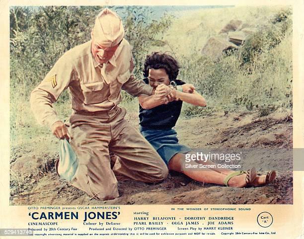 A lobby card for Otto Preminger's 1954 musical 'Carmen Jones' featuring Harry Belafonte and Dorothy Dandridge