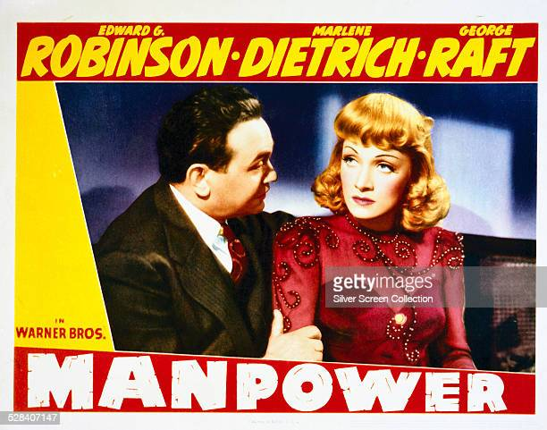 A lobby card for Raoul Walsh's 1941 drama 'Manpower' featuring Edward G Robinson and Marlene Dietrich