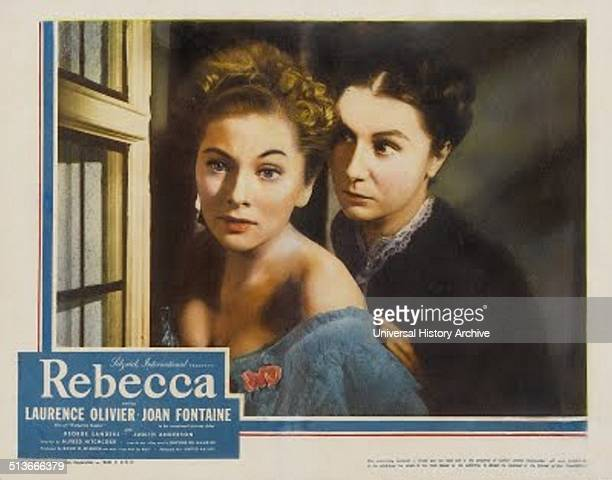 Lobby card for Rebecca, a 1940 American psychological drama-thriller film. Directed by Alfred Hitchcock, it was his first American project. Starring...