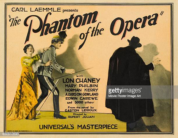 A lobby card for the 1925 horror film 'The Phantom of the Opera' starring Lon Chaney Mary Philbin and Norman Kerry The film was produced by Carl...