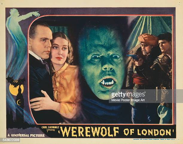 A lobby card for the US release of Stuart Walker's 1935 Horror film 'Werewolf Of London' The film stars Henry Hull who is pictured at far left centre...