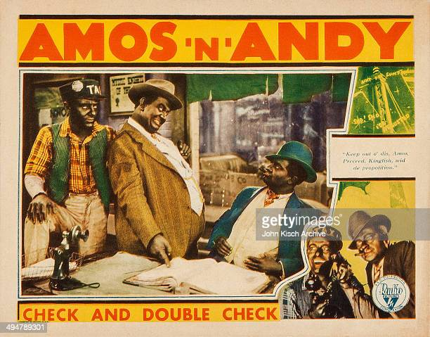 Lobby card from the comedy 'Check and Double Check' starring radio's Freeman Godsen and Charles Correll in blackface as Amos and Andy with Duke...
