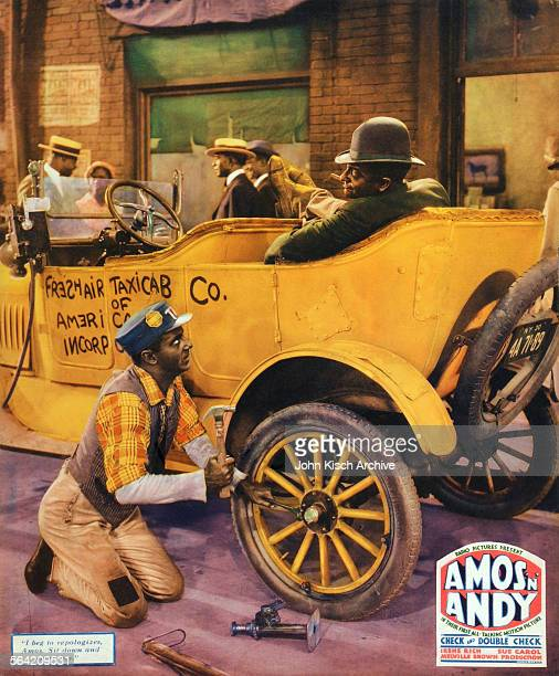 Lobby Card poster for the film 'Check and Double Check' features a scene by taxi cab with blackface comedy pair Amos and Andy starring Freeman Godsen...