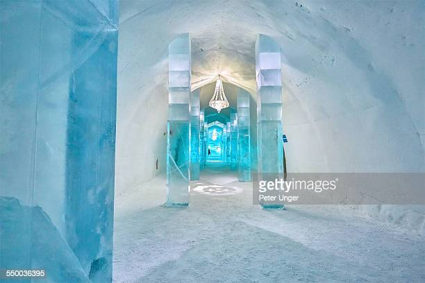 lobby entrance inside ice hotel - ice hotel sweden stock pictures, royalty-free photos & images