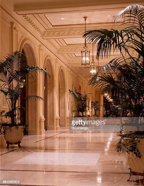 Lobby hallway at the Sheraton Palace Hotel in San Francisco California