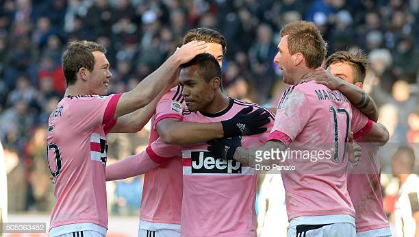 Lobo Silva Alex Sandro of Juventus FC celebrates after scoring his team's fourth goal during the Serie A match between Udinese Calcio and Juventus FC...