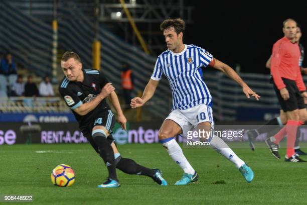 Lobotka of Celta duels for the ball with Xabi Prieto of Real Sociedad during the Spanish league football match between Real Sociedad and Celta at the...