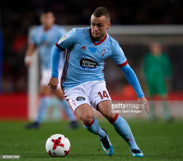 Lobotka of Celta in action during the Copa del Rey Round of 16 second Leg match between Barcelona and Celta de Vigo at Camp Nou on January 11 2018 in...