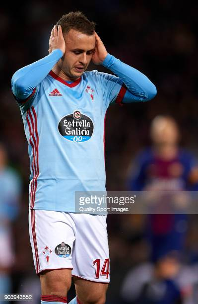 Lobotka of Celta reacts during the Copa del Rey Round of 16 second Leg match between Barcelona and Celta de Vigo at Camp Nou on January 11 2018 in...