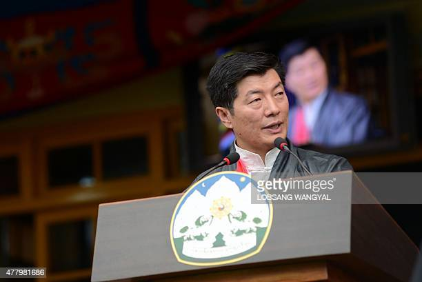 Lobsang Sangay leader of the Tibetan governmentinexile speaks on the occasion of the Dalai Lama's 80th birthday celebrations at Tsuglakhang temple in...