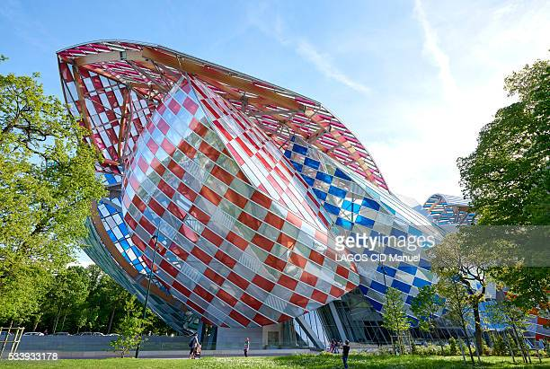 l'Observatoire de la Lumière the colored installation created by the artist Daniel Buren at the Vuitton Foundation The artist has covered the glass...