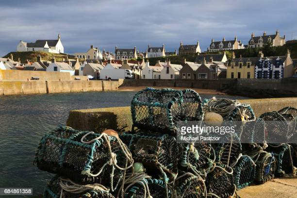 lobster cages at the harbour - lobster fishing stock photos and pictures