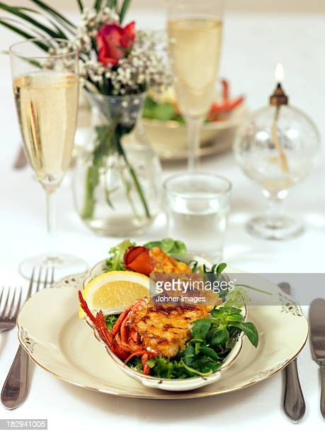 Lobster dish on table