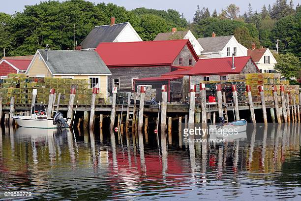 Lobster docks with sheds Vinalhaven Island Maine New England USA