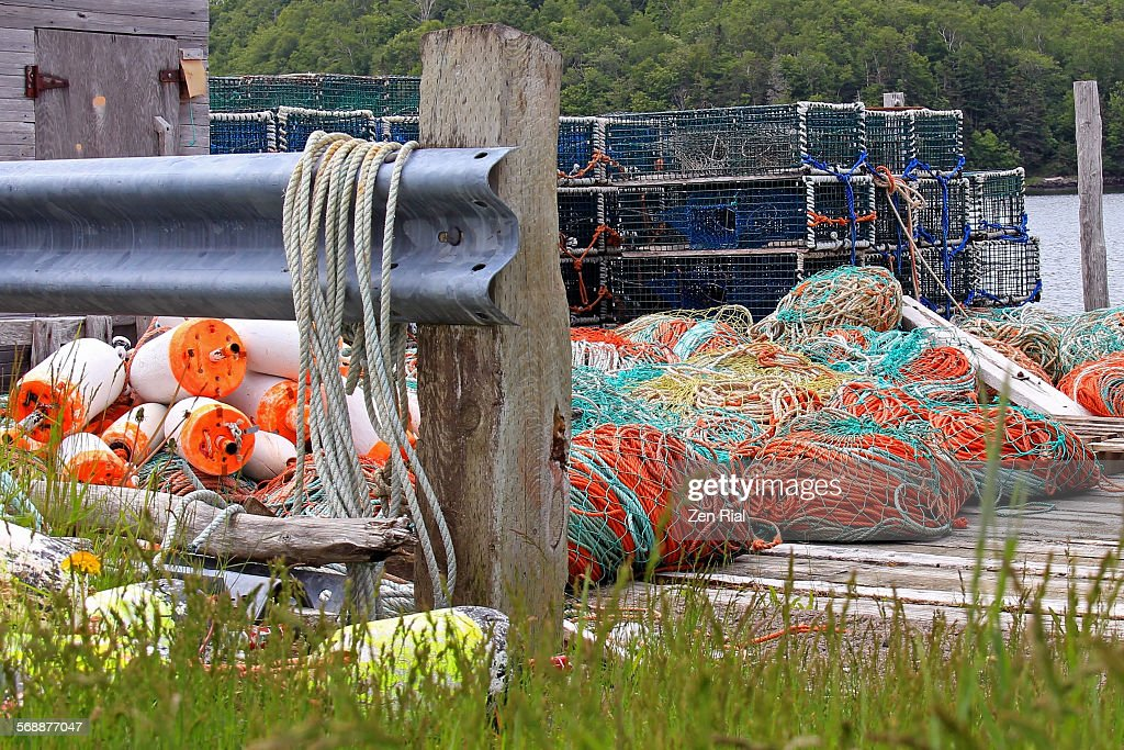 Lobster fishing equipment in a wharf : Stock Photo